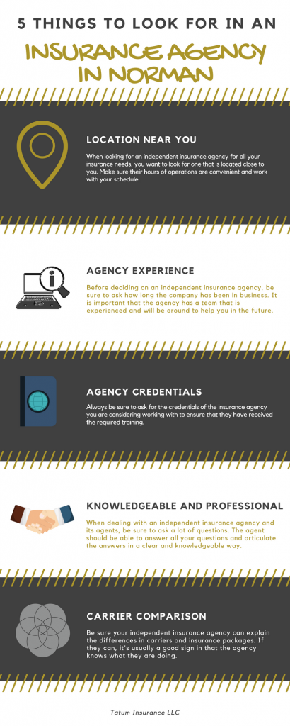 Infographic of what to look for in a norman insurance agency